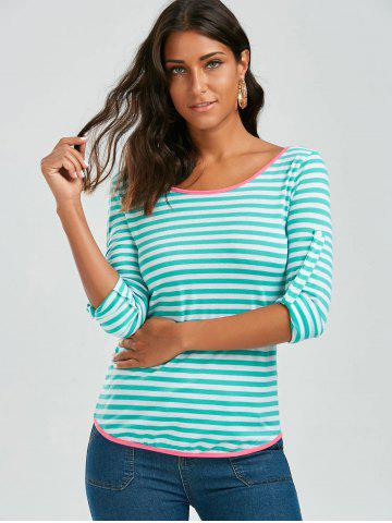 Best Long Sleeve Bowknot Striped T-Shirt - S GREEN Mobile