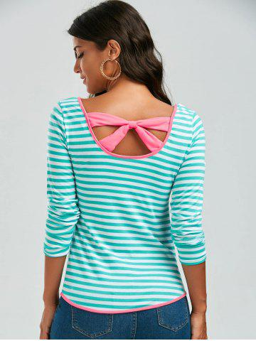 New Long Sleeve Bowknot Striped T-Shirt - S GREEN Mobile