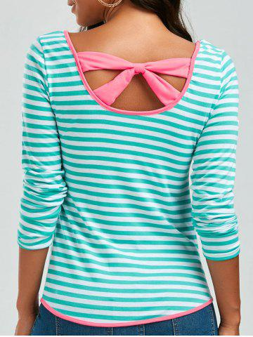 Unique Long Sleeve Bowknot Striped T-Shirt - S GREEN Mobile
