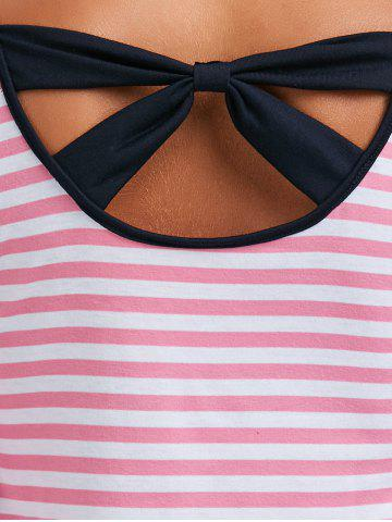Chic Long Sleeve Bowknot Striped T-Shirt - XL PINK Mobile