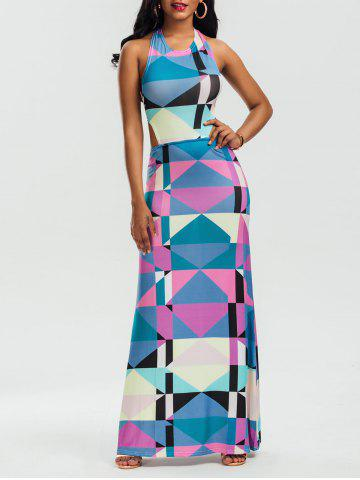 Halter Backless Geometric Print Maxi Dress Multicolore S
