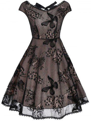 Back Cutout Lace Vintage Fit and Flare Dress - Black - Xl