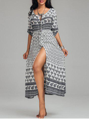 Discount High Split Tribal Print Button Down Bohemian Dress - L WHITE Mobile