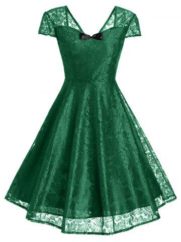 -43% Retro Bowknot Lace Fit and Flare Cocktail Dress