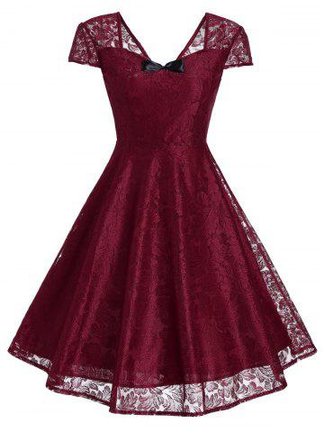 Retro Bowknot Lace Fit and Flare Cocktail Dress - Wine Red - 2xl