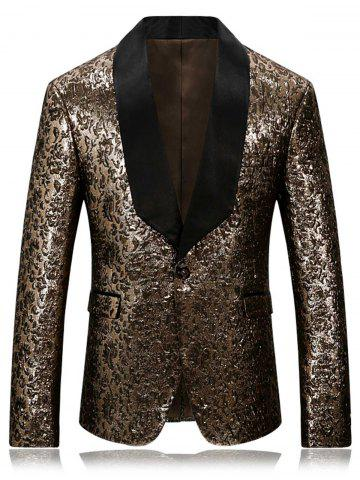 Discount One Button Shawl Collar Metallic Blazer - 4XL GOLDEN Mobile