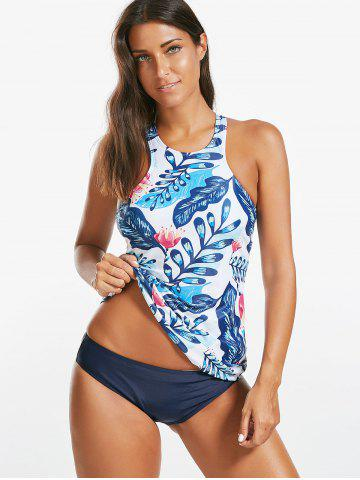 Store Backless Floral Padded Blouson Tankini Set - S COLORMIX Mobile