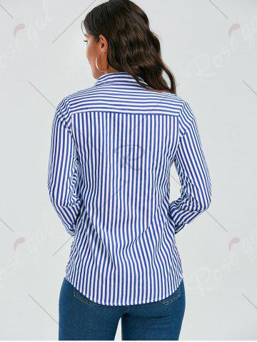 Best Stripes Long Sleeve Formal Shirt - XL BLUE AND WHITE Mobile