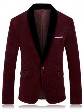 Outfit One Button Shawl Collar Velveteen Blazer - 4XL WINE RED Mobile