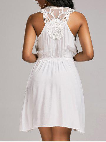 Lace Trim Sleeveless Surplice Flare Dress - White - S