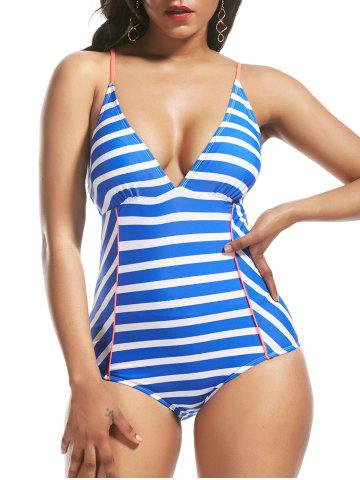 Trendy Striped Cross Back Lace Up Swimsuit - S BLUE Mobile