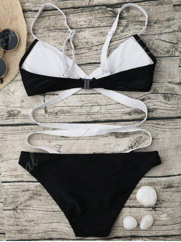 Cheap Bandage One Piece Swimsuit - S BLACK Mobile