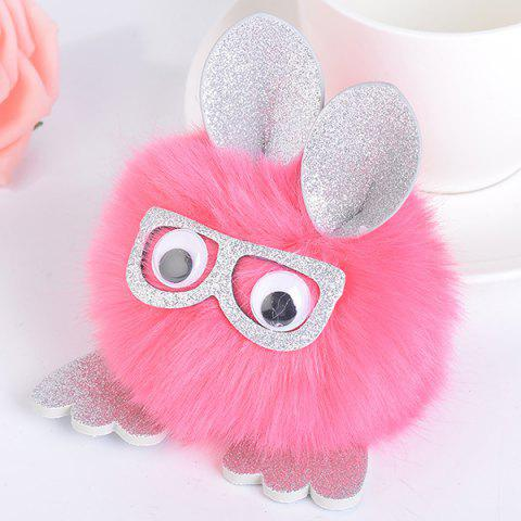 Shop Animal Pattern Eyeglasses Pom Pom Ball Keyring - RED  Mobile