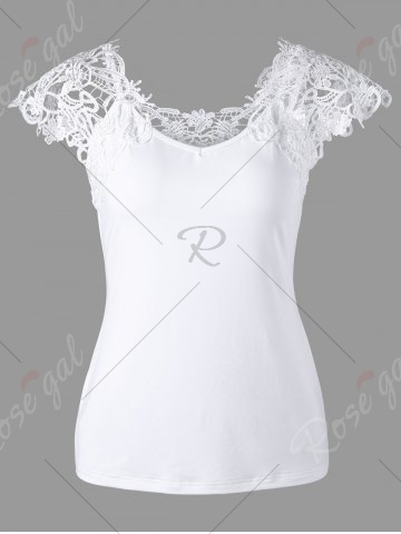 Best Lace Trim Cap Sleeve Cutwork T-shirt - M WHITE Mobile