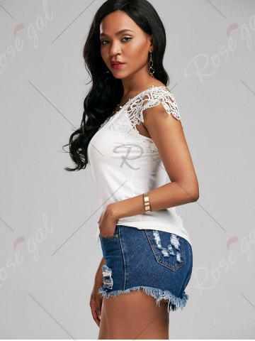 Trendy Lace Trim Cap Sleeve Cutwork T-shirt - M WHITE Mobile