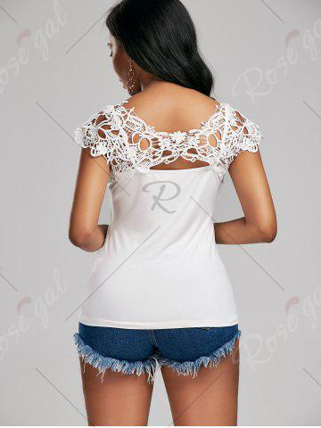 Buy Lace Trim Cap Sleeve Cutwork T-shirt - M WHITE Mobile