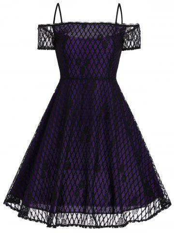 Vintage Spaghetti Strap Lace Fit and Flare Dress - Purple - Xl