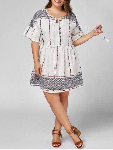 Affordable Plus Size Self Tie Peasant Smock Dress