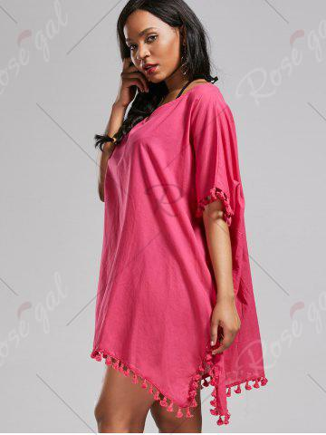 Trendy Oversized Batwing Sleeve Swing Tunic Cover Up Dress - ONE SIZE ROSE MADDER Mobile