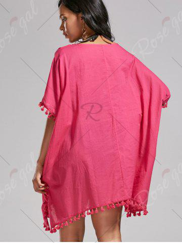 Cheap Oversized Batwing Sleeve Swing Tunic Cover Up Dress - ONE SIZE ROSE MADDER Mobile