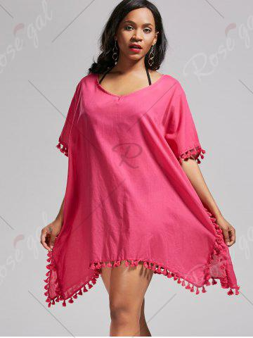Affordable Oversized Batwing Sleeve Swing Tunic Cover Up Dress - ONE SIZE ROSE MADDER Mobile