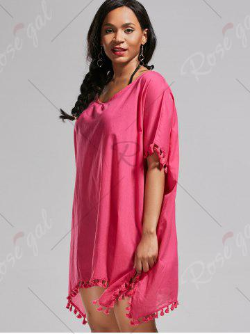 Fancy Oversized Batwing Sleeve Swing Tunic Cover Up Dress - ONE SIZE ROSE MADDER Mobile