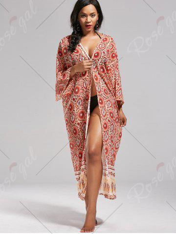 Fancy Boho Floral Longline Kimono Cover Up - ONE SIZE COLORMIX Mobile