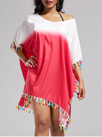 Cheap Tassel Trim Ombre Cover Up Dress