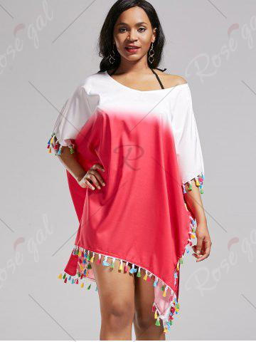 Sale Tassel Trim Ombre Cover Up Dress - ONE SIZE ROSE MADDER Mobile