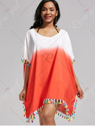 Online Tassel Trim Ombre Cover Up Dress - ONE SIZE DARKSALMON Mobile