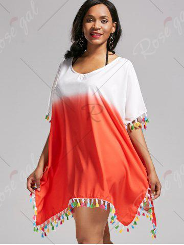 Trendy Tassel Trim Ombre Cover Up Dress - ONE SIZE DARKSALMON Mobile