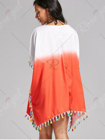 Shop Tassel Trim Ombre Cover Up Dress - ONE SIZE DARKSALMON Mobile