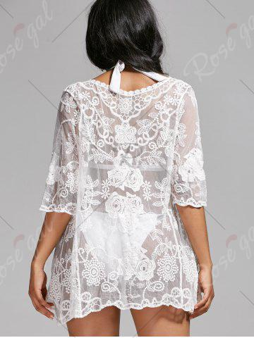 Best Mesh Lace Summer Kimono Cover Up - ONE SIZE WHITE Mobile