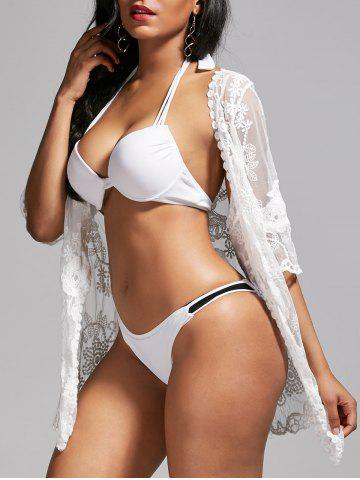 Online Mesh Lace Summer Kimono Cover Up WHITE ONE SIZE