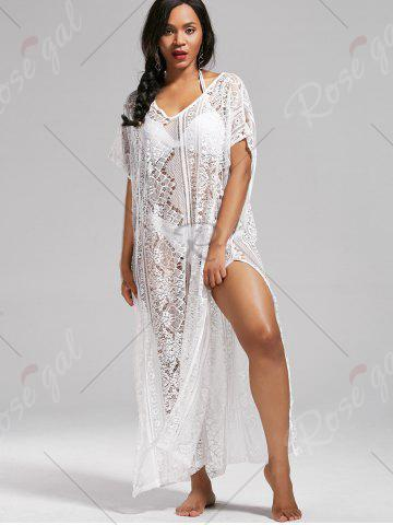 Shop Sheer Lace V Neck Maxi Cover Up Dress with Sleeves - ONE SIZE WHITE Mobile
