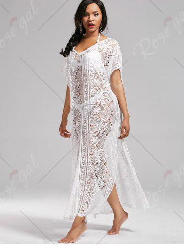 Best Sheer Lace V Neck Maxi Cover Up Dress with Sleeves - ONE SIZE WHITE Mobile