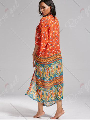 Outfits Boho Pattern Long Kimono Cover Up - ONE SIZE JACINTH Mobile
