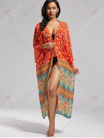 Unique Boho Pattern Long Kimono Cover Up - ONE SIZE JACINTH Mobile