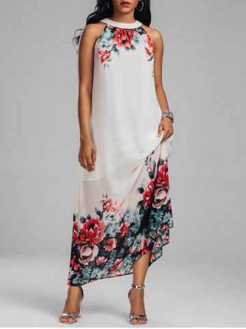 Chiffon Floral Maxi Dress for Summer - White - Xl