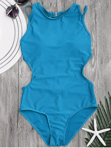 Unique Back Strappy Padded Swimwear - L LAKE BLUE Mobile
