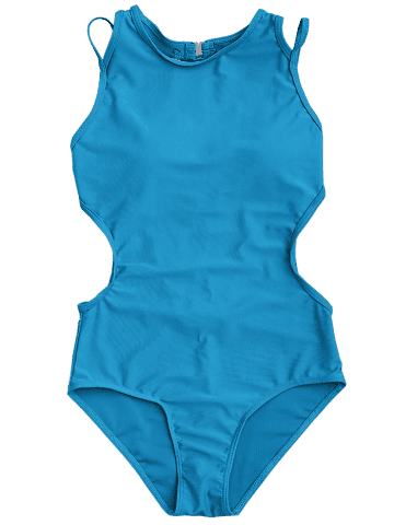 Discount Back Strappy Padded Swimwear - L LAKE BLUE Mobile