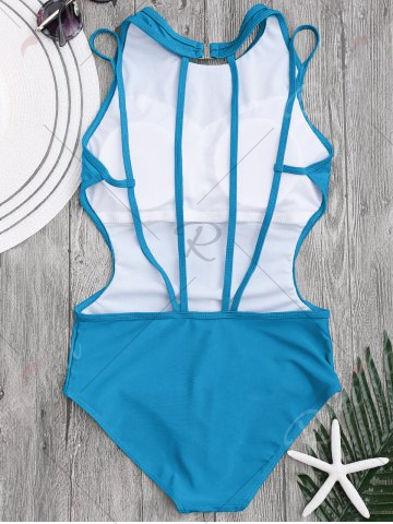 Online Back Strappy Padded Swimwear - L LAKE BLUE Mobile