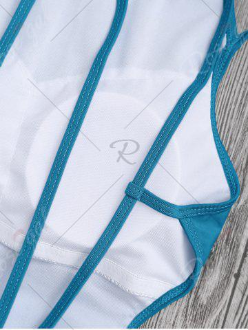 Affordable Back Strappy Padded Swimwear - L LAKE BLUE Mobile