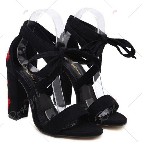 Fashion Tie Up Embroidery Block Heel Sandals - 40 BLACK Mobile