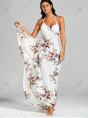 Online Sarong Chiffon Floral Convertible Wrap Cover Up Dress - S WHITE Mobile