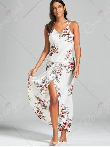 Latest Sarong Chiffon Floral Convertible Wrap Cover Up Dress - S WHITE Mobile