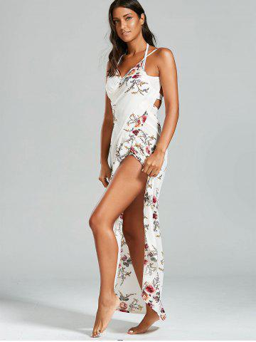 Outfit Sarong Chiffon Floral Convertible Wrap Cover Up Dress - XL WHITE Mobile