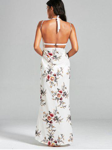 Chic Sarong Chiffon Floral Convertible Wrap Cover Up Dress - XL WHITE Mobile