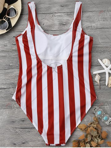 Cheap Shaping Striped One Piece Swimsuit - L RED WITH WHITE Mobile