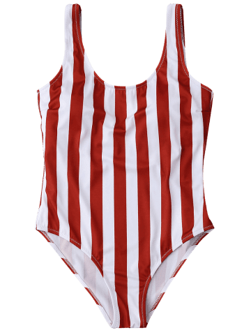 Sale Shaping Striped One Piece Swimsuit - L RED WITH WHITE Mobile